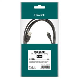 AV:Link 13.001UK USB 2.0 Type A Plug to Micro USB Type B Plug 5pin Lead - 1.5m