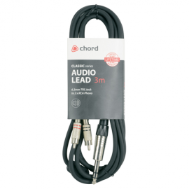 Classic Audio Leads 6.3mm TRS Jack Plug - 2 x RCA Plugs (1.5 - 3m lengths available)