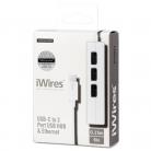 Techlink 526507 iWires USB-C Plug to 3 Port USB Hub with Ethernet