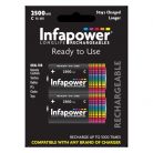 Infapower B005 2 Size C 2500mAh Rechargeable Batteries