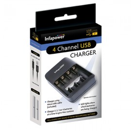 Infapower C014 4 Channel USB Charger for AAA & AA Cells