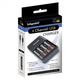 Infapower C015 4 Channel USB Charger with 4 x AA 1300mAh Cells