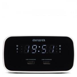 AIWA CRU-19BK Alarm Clock Radio with Dual USB Charging Ports - Black