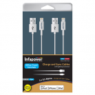 Infapower P031 Apple Lightning Cable Twin Pack - 0.5m