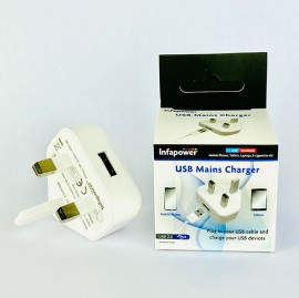 Infapower P057 Single Output USB Charger 1amp - White