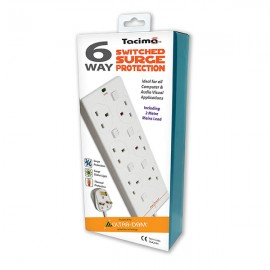 NEW Tacima 6 Way Switched Surge Protected Mains Lead - 2m
