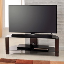 Vision TV Stand in Walnut with 2 Black Glass Shelves 1200mm