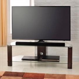 Vision TV Stand in Walnut with 2 Clear Glass Shelves 1200mm