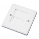 WPWB50 White Single Flush Outlet with White Brushes