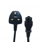 Electrovision 5A Cloverleaf Black Mains Lead - 2m (2m - 5m lengths available)