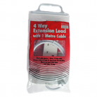 Red/Grey 4 Gang 13Amp 1m Lead (Bagged)