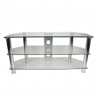 TTAP CC303/1200 Classik TV Stand - Clear Glass & Chrome