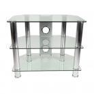 TTAP CC303/600 Classik TV Stand - Clear Glass & Chrome