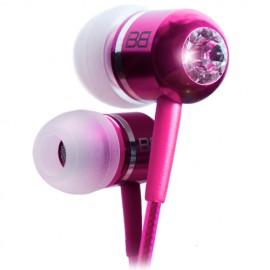 BassBuds BBCC-PNK Classic Pink Crystaltronics In-Ear Headphones