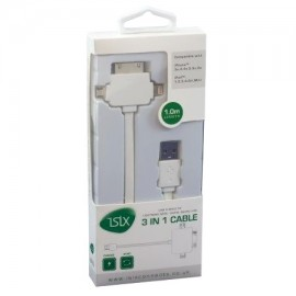 iSix IS10P USB to 8 Pin, 30 Pin & Micro USB Cable, White
